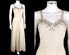 Vtg Florence Danforth c.1930's Ivory Moire Rhinestone Bias Cut Evening Dress Xs