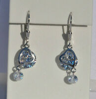 Echt 925 Sterling Silber Rivoli crystal Herz Ohrringe mit Zirkonia Nr 237