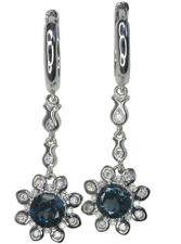Snap Closure Topaz Natural Round Fine Earrings