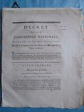 DECRET 1793 : ORGANISATION des POSTES et MESSAGERIES, 20 pages.
