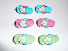 It's Flip Flop Time - Sandals w/ Flower 3D Realistic Shank Buttons Asst.Colors