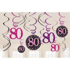 60 Geburtstag Party 12 tlg Swirl Girlanden schwarz Gold Raum Deko Jubiläum 0480