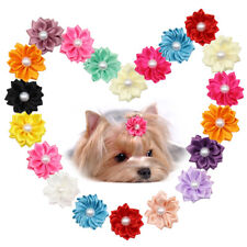 20pcs Flower Dog Hair Bows with Rubber Band Grooming Headdress Holiday Topknot