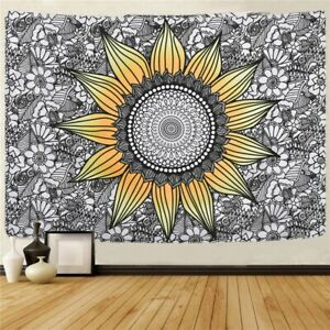 Sunflower Tapestry Mandala Wall Hanging Yellow and Grey Tapestries Home Decor