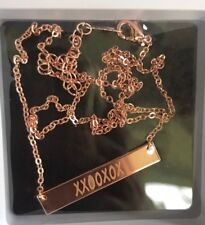 "Rose Gold Bar Necklace ""XOXO"" Plated Jewelry 18"" Hugs Kisses New in Package USA"