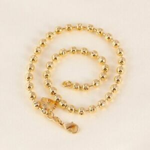 """9K 9ct Yellow """"Gold FILLED"""" Beaded Heart & Bell ANKLE CHAIN / ANKLET 10.6"""" C125"""