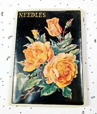 Vintage set of sewing needles of different lengths with gold-plated tips