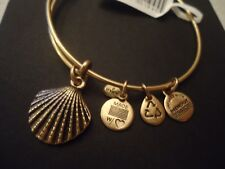 Authentic Alex and Ani SEA SHELL Russian Gold Charm Bangle NEW W/ Tag Card & Box