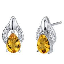 Citrine Sterling Silver Finesse Stud Earrings 1.00 Carat Total