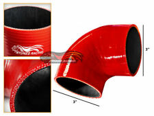 """RED Elbow 3"""" 76mm 4-ply Silicone Coupler Hose Turbo Intake Intercooler VW"""