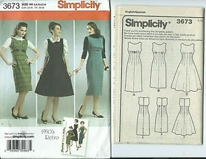 S 3673 sewing pattern 50's Retro DRESS Nifty JUMPER sew sizes 6,8,10,12,14 UNCUT