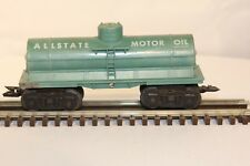 Marx 5553 All Stage Motor Oil 1960's 3 Dome Tank Car Aqua Blue N.S.W.  O/O27