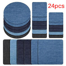 24Pcs Iron On Denim Cotton Patches Repairing Decorating Kit for Jeans 3 ColorSEA
