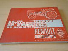 Catalogue pièces de rechange tracteur Renault R 77 / 777 / 717  1967