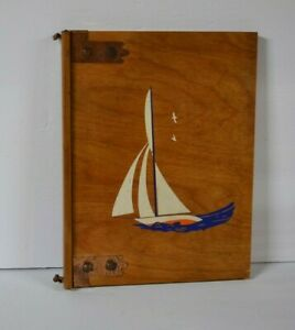 VINTAGE WOODEN NAUTICAL THEME GUEST, SCRAP,MENU SIGN-IN BOOK HANDMADE & PAINTED