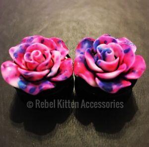 """18mm 11/16"""" Pair Of Tie Dye Pink Blue Rose Flower Gauges Plugs (#127)"""