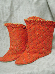 Vintage 60s 70s Booties Slippers Quilted NOS L Red Cotton Calico Lined ZIPPER