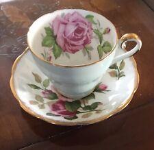 Aynsley tea cup and saucer mismatched set large cabbage rose light blue pink HTF