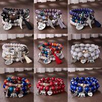 Retro Women Boho Multilayer Natural Stone Beaded Tassel Bracelet Bangle Gift