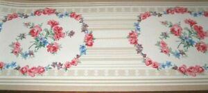Wallpaper Border Vintage Flower Garland Tan Beige Cream Stripe Cottage Style
