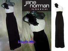 JAND NORMAN Black White One Shoulder Corsage / Flower Maxi Dress UK 8