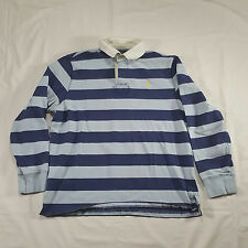 Polo Ralph Lauren Blue Long sleeve striped Custom Fit XL Rugby Polo Shirt VTG