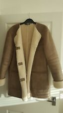 Must Have! Zara Women's Ladies Coat Faux Fur Cuff And Inner Lining Size L NEW