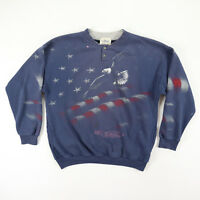 Vtg 80s Sun-Washed Faded Henely Sweatshirt MEDIUM USA Flag Eagle All Over Print