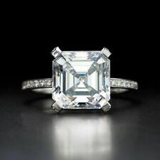 Moissanite Engagement Ring 925 Sterling Silver 2.28 Ct Near White Asscher Cut