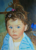 """perfect 24x36 oil painting handpainted on canvas """"a little girl""""@N15350"""