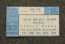 SIMPLE MINDS JUNE 15, 1984 Concert Ticket Stub HOLLYWOOD PALLADIUM