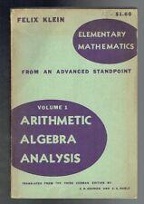 Klein, Felix; Arithmetic Algebra Analysis. Dover 1940 Fair