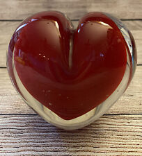 RED HEART SURROUNDED CLEAR GLASS ART GLASS HEAVY PAPERWEIGHT