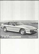 TVR TASMIN, TASMIN CONVERTIBLE & TASMIN +2 PRICE LIST BROCHURE OCTOBER 1980