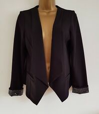 NEW Ex Wallis 8-20 Black Embellished Waterfall Blazer Jacket Occasion Wedding