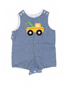 Boy Betti Terell Tow Truck Blue Gingham Shortall Jon John Romper Size 12 Months