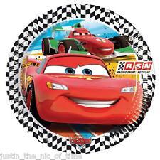 """Disney cars papier plaque garçons fête d'anniversaire fournitures vaisselle big 9"""" plaques x8"""
