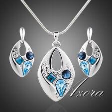 AZORA Anhänger mit Halskette + Ohrringe mit Stellux Crystal blau Platin Pl. 008