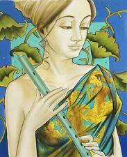 Radha Krishna Divine Painting Indian Hindu Deity Handmade Oil Canvas Decor Art