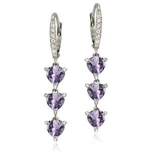 Sterling Silver Amethyst and White Topaz Heart 3-Stone Dangle Earrings