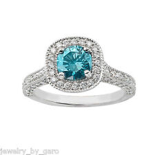 1.85 CARAT ENHANCED BLUE DIAMOND ENGAGEMENT RING 14K WHITE GOLD HALO RING