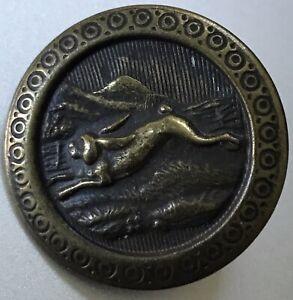 Vintage Rabbit Running Brass Button