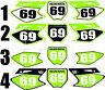 2006-2008 Kawasaki KX 250f 450f KX Number Plates Side Panels Graphics Decal