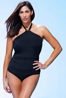 $79 NWT Brava Black Halter Powernet Swimsuit Sz 22 Swimsuits for all Plus 886