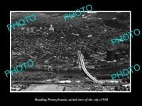 OLD LARGE HISTORIC PHOTO OF READING PENNSYLVANIA, AERIAL VIEW OF CITY c1930