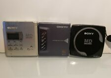 Lot of 3 Md Minidisc Players Sony Onkyo Mz R55, E80, Md-P10 Parts Or Repair