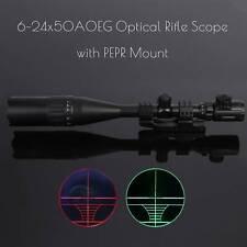 6-24X50 AO Hunting Rifle Scope Mil-dot Red Green Laser W/ PEPR Mount-Sunshade