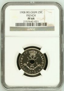 BELGIUM PROOF 25 Centimes 1908 EXTREMELY RARE NGC PF64 unreported