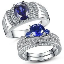 Sterling Silver His Lab Blue Tanzanite Band Hers Blue Sapphire Wedding Ring Set