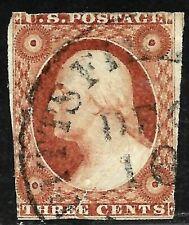 "Sc #10 or 11 ""DEC 10"" Town Date Cancel 3 Cent Washington 1851-57 US Stamp 2051"